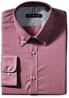 Tommy Hilfiger Mens Non Iron Slim Fit Gingham Buttondown Collar Dress Shirt  #shirts #dress #mensshirt #clothing #fashion #formalshirt