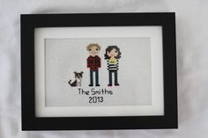 Cross Stitch Portraits - perfect for a two-year cotton anniversary gift