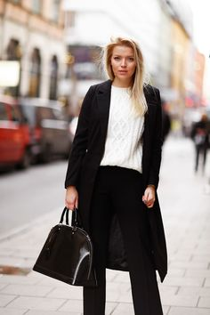 coat / Missguided - knit / Andiata - pants / Andiata - bag / Louis Vuitton