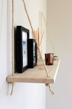 Hanging Shelf / Shelf with Rope / Wooden Wall Shelf / Shelf . Diy Wooden Shelves, Unique Shelves, Diy Hanging Shelves, Rope Shelves, Wooden Walls, Brighten Room, Diy Home Decor, Room Decor, Diy Regal