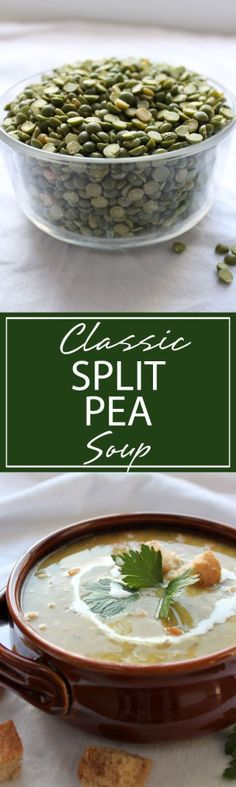 Classic Split Pea Soup | A hearty soup packed full of comfort. This Classic Split Pea Soup is filled with split peas, carrots, celery, ham and creamy goodness | forkknifeandlove.com