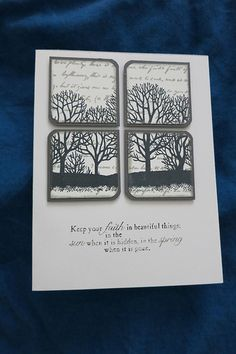 handmade Sympathy Card ... black and white .. foursquare tile pattern ... tree silhouettes overlaping ... great card!!