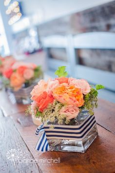The Argument About Nautical Theme Party Centerpieces Decor Ideas Not to mention it may be used later as a decoration in your residence! Needless to sa. Nautical Bridal Showers, Nautical Party, Nautical Wedding, Anchor Wedding, Striped Wedding, Bridal Shower Centerpieces, Floral Centerpieces, Nautical Centerpiece, Floral Arrangements