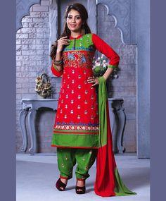 Red Cotton Punjabi Suit 67513
