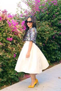 Sequins top and KTRcollection cream midi skirt