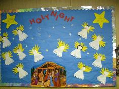 """A """"Holy Night"""" themed bulletin board makes a great winter classroom decoration."""