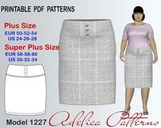 Pencil Yoke Skirt Sewing Pattern for sizes 24-34 | Craftsy