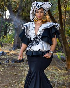 Xhosa Attire, Beauty Bar, Dress Codes, Muse, Captain Hat, Ruffle Blouse, Chic, Instagram, Tops