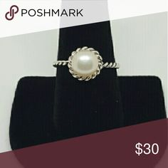 Sterling silver 925 with freshwater pearl Brand new beautiful pearl ring. Twisted band adds character to this ring. Solid sterling silver. Stamped. Jewelry Rings