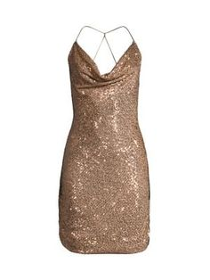 Parker Black Paris Cowlneck Dress In Bronzed Rose Parker Black, Glitter Dress, World Of Fashion, Beautiful Outfits, Dress Outfits, Sequins, Clothes For Women, Formal Dresses, Womens Fashion