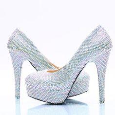 Crystal Beadings Round Toe Low Cut Stiletto High Heels Bridal Wedding Shoes  High Heels Stilettos e00eeafd2