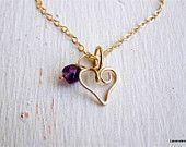 Heart Jewelry , Gold Heart Necklace , Amethyst ,  Valentine Jewelry