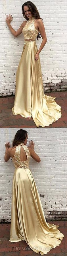 A-line High Neck Two Piece Formal Dresses, Silk-like Satin Long Evening Party Gowns, Beading Gold Prom Dresses