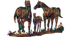 Family Moment (Horses) | Hanging Metal Wall Art