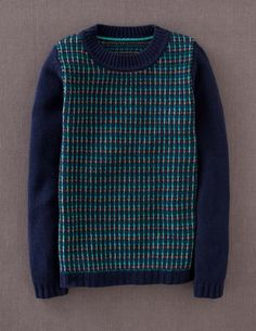 Stripy Stitch Sweater from Boden - I need to find a knitting pattern similar to this.   Slip stitch for the colorwork?