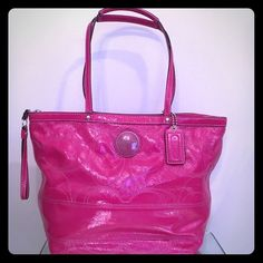 "COACH PINK PATENT LEATHER C STITCHED MEDIUM TOTE Yes! She is 100% authentic as ALL my items are! Coach creed number F1020 – F15142,very roomy interior has a little bit of pink inside as pictured otherwise inside looks newish -2slip /1zip/ pink sateen lining & tons of room! Patent leather straps measuring approx 10"" drop, zip top closure, pink coach symbol on the front side white stitching throughout, exterior needs to be wiped and the top rim of the interior, coats tag boning piping…"