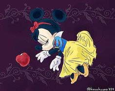 Minnie as Snow White lying dead from eating the poison apple.