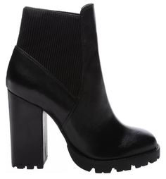 BOTA TRACK LEATHER BLACK Black Boots, Booty, Ankle, Leather, Track, Shoes, Fashion, Chunky Heels, Black