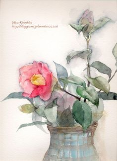 Lovely, loose watercolor by Mica Kinoshita. Watercolor Flowers, Watercolor Paintings, Watercolours, Book Flowers, Botanical Drawings, Watercolour Tutorials, Painting Inspiration, Art Lessons, Flower Art