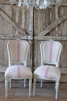 French Dining Chairs Pair in Grainsack from Full Bloom Cottage