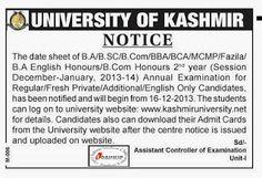 University Of Kashmir 2nd Year Exam Notice   Kashmir Student Online