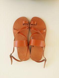 Women Leather Light Brown Flat Sandals - Greek Sandals Women