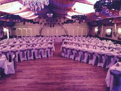 Wookey Hole wedding reception with hessian sashes and runners