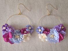 染め花のフープピアス(パープル&赤紫)