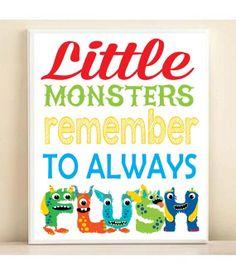Kids Bathroom Art Little Monsters Remember to by PlayOnWordsArt, $14.00