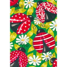 Amazon.com : Spring Summer Ladybug Daisy House Flag : Outdoor Flags :... ($14) ❤ liked on Polyvore featuring home, outdoors, outdoor decor, patio decor, outdoor garden decor, ladybug garden decor and garden decor