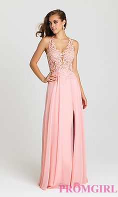 Long Sheer V-Neck Open Back Prom Dress by Madison James at PromGirl.com