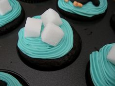 """Ice""cube cupcake to go with penguin cupcakes"