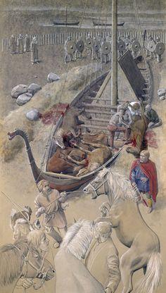 Høvdingebegravelsen i Ladby, midt i 900-tallet – Bestattungsszene Ladby, Fyn, Mitte 900 – Funeral scene, Ladby, Fyn, the middle of AD 900