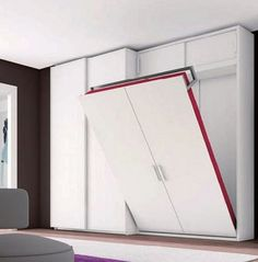 Having a bed that folds away offers more floor space. In this example there is more storage available as well.