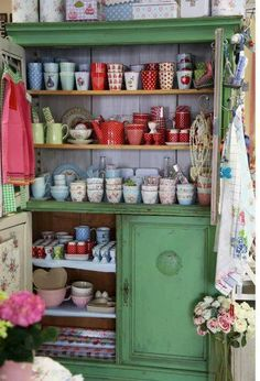 gorgeous #shabby #cupboard filled with #greengate