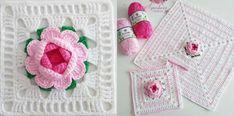 3D Flower Granny (Motif) – CK Crafts Granny Square Crochet Pattern, Crochet Round, Crochet Squares, Free Crochet, Granny Squares, Crochet Granny, Crochet Afghans, Crochet Blankets, Crochet Quilt