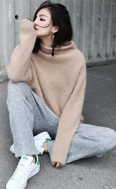 Grey Knit Loose Joggers