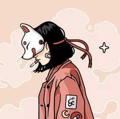 Closeup as usual 🐺✨ Aesthetic Art, Aesthetic Anime, Character Art, Character Design, Kitsune Mask, Japon Illustration, Illustration Pictures, Anime Art Girl, Japanese Art