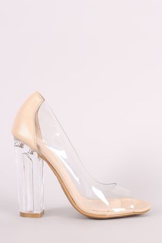 This pump features a transparent design with vegan leather heel counter, peep toe silhouette, scooped vamp, and chunky clear heel. Finished with a lightly padde Vegan Leather, Leather Men, Pump Shoes, Pumps, Transparent Design, Clear Heels, Leather Heels, Bamboo, Peep Toe