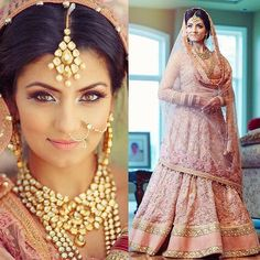 Golden Makeup and Jewelry with Embroidered Soft Pink Bridal Lehenga Indian Bridal Wear, Asian Bridal, Indian Wedding Outfits, Wedding Attire, Indian Outfits, Indian Weddings, Indian Clothes, Indian Wear, Bride Indian
