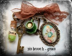 Alice in Wonderland- green -brooch cabochon mini glass bottle porcelain cup charms lace gift Fimo handmade
