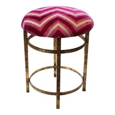 Image of Gilt Stool with Fuchsia Flamestitch Fabric
