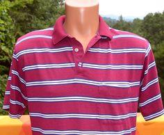 vintage 80s polo GOLF shirt maroon blue stripe collar Medium tournament arrow soft thin