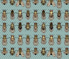 Giant drosophila mutants fabric by chantal_pare on Spoonflower - custom fabric
