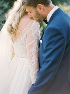 The sweetest shoulder kiss: http://www.stylemepretty.com/2016/06/23/italian-destination-wedding-outside-rome/ | Photography: Laura Gordon Photography - http://lauragordonphotography.com/