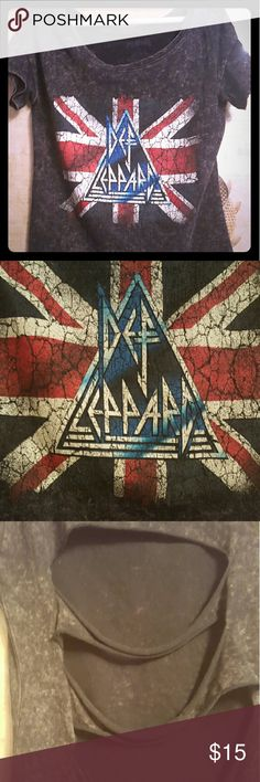 DEF LEPPARD rock shirt Short sleeve DEF LEPPARD shirt. Cut on back. Worn it once. Def leppard Tops Tees - Short Sleeve