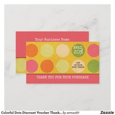 Colorful Dots Discount Voucher Thank You For Order Business Card