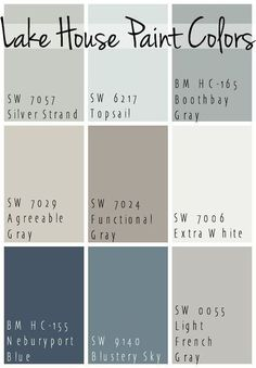 The Best Lake House Paint Colors – calming blue and gray tones that all coordinate for a seamless color pallet for a lake home. The Best Lake House Paint Colors – calming blue and gray tones that all coordinate for a seamless color pallet for a lake home. Sweet Home, Haus Am See, Paint Colors For Home, Cabin Paint Colors, Home Colors, Bathroom Paint Colors, Living Room Paint Colors, Outside House Paint Colors, Indoor Paint Colors
