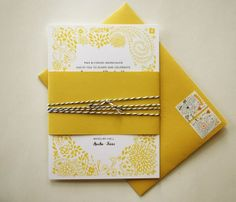 yellow invitations - cute stamps!