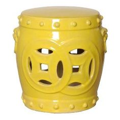 Double Fortune Ceramic Stool in Yellow. Product in photo is from www.wellappointedhouse.com